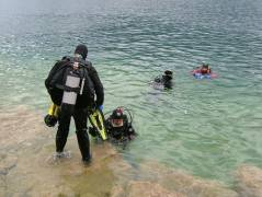 Divers in the water, ready for a nice dive in 40 meter