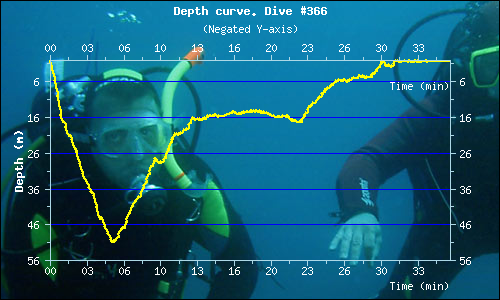 Diving profile for the dive at the Desselwand